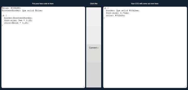LESS CSS converter