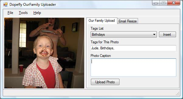 Dopefly uploader with Jude's birthday