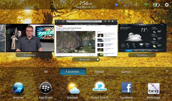 The PlayBook multitasking interface
